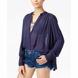 Free People button down embroidered top size small